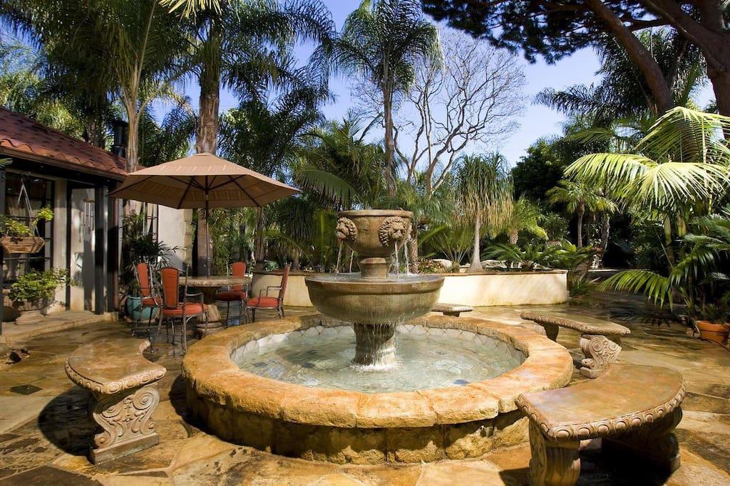 Front courtyard fountain