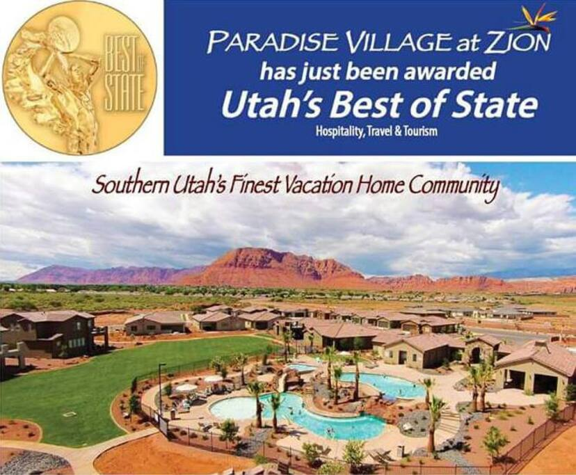 Paradise Village was awarded best of state in hospitality, travel, and tourism