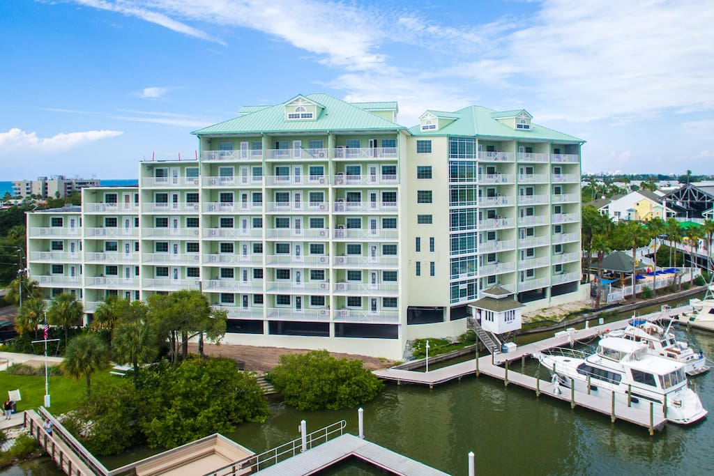View of the building from the intercostal waterway.