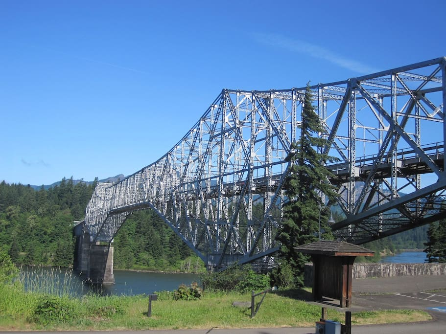 The Bridge of the Gods crosses the Columbia at Cascade Locks, Oregon. Then it's five miles to our house.