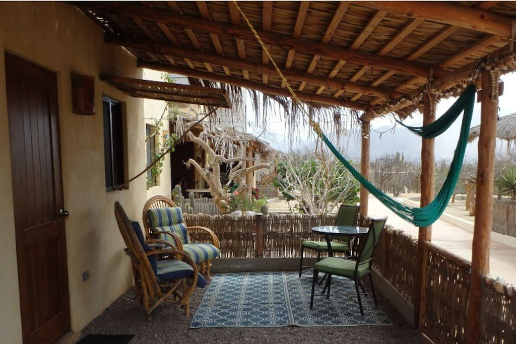 Front patio, the hammock may not be there (or may be damaged) fyi...