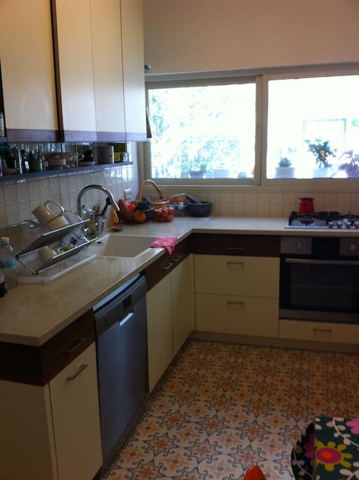fully equiped retro kitchen, with a new dishwasher, stove and a large fridge
