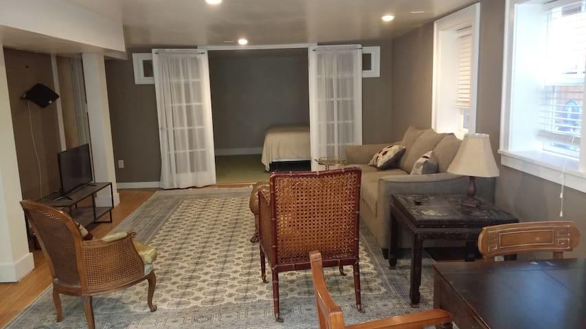 The living room looking toward the bedroom