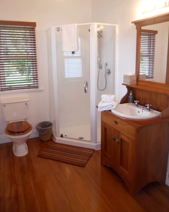 Ensuite bathroom with character features and shower.