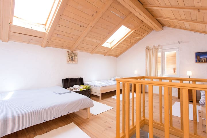Upper floor/bedroom   For 4 persons   One bed 160/200 cm Two beds 90/200 cm