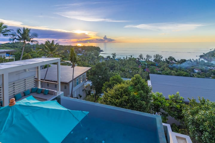 AQUA 3br - Pool, Panoramic Sea View, Hill side