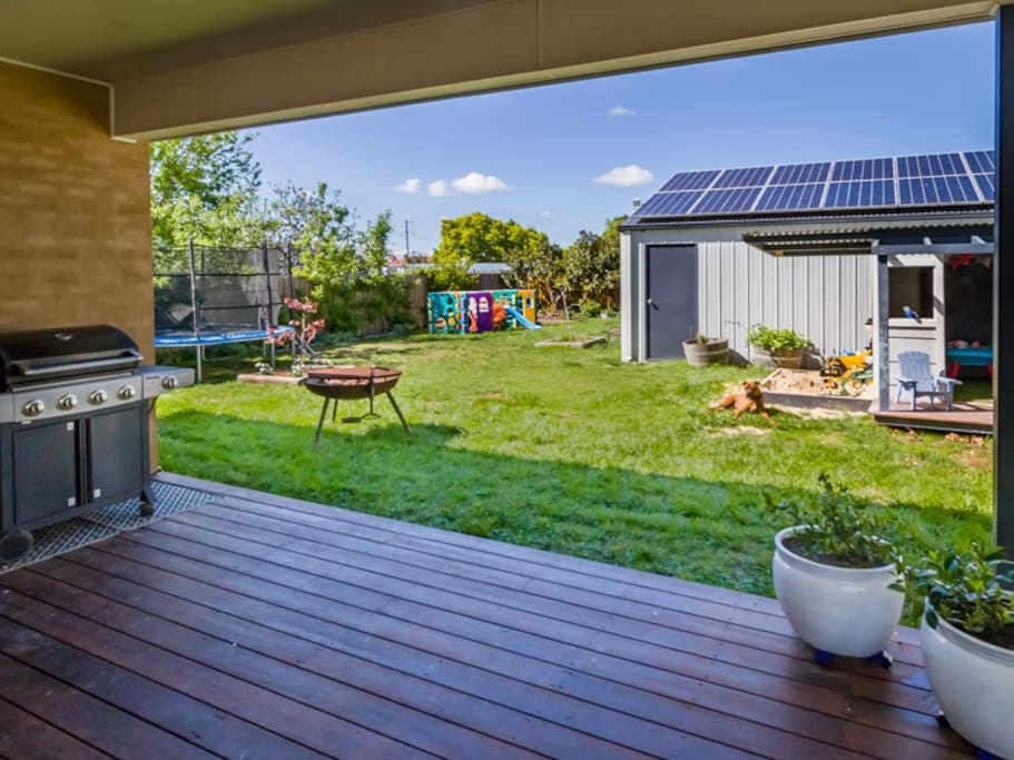 Large enclosed backyard with cubby, trampoline, climbing frame, veggie garden and chooks to collect fresh eggs