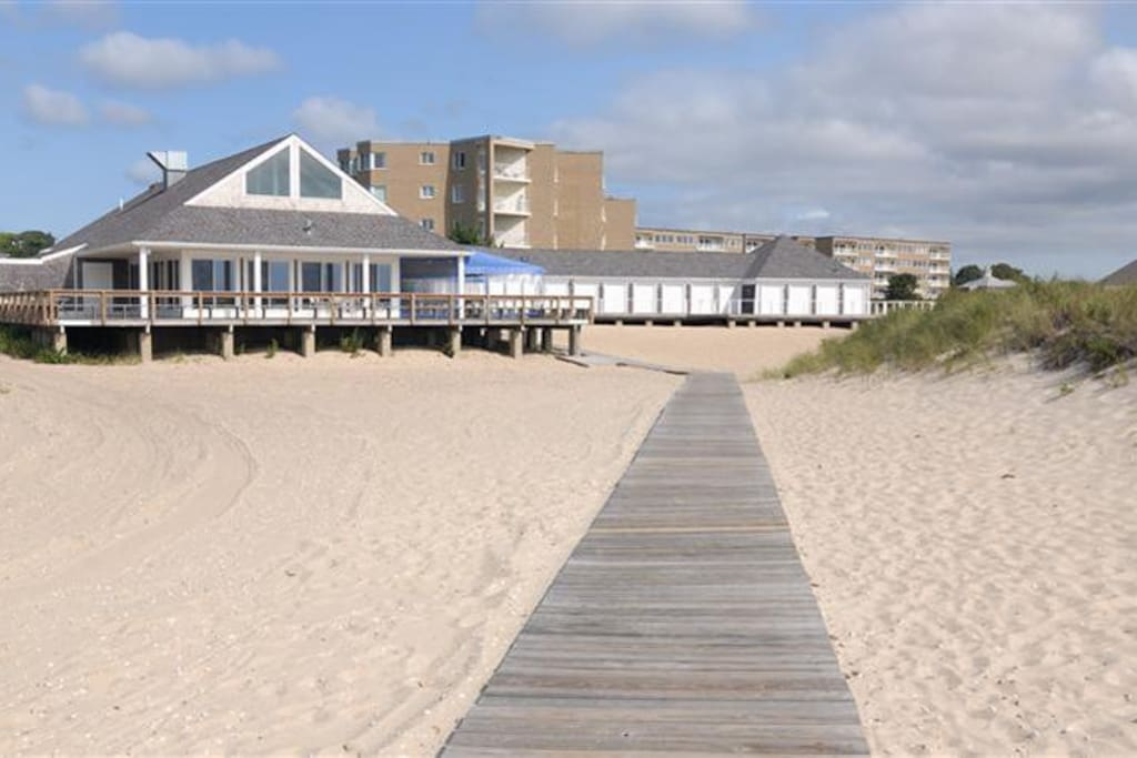 Private dining club - seasonally. Boardwalk to the beach.