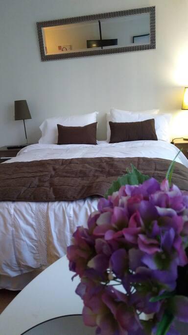 Cama 2 Plazas 4 almohadas