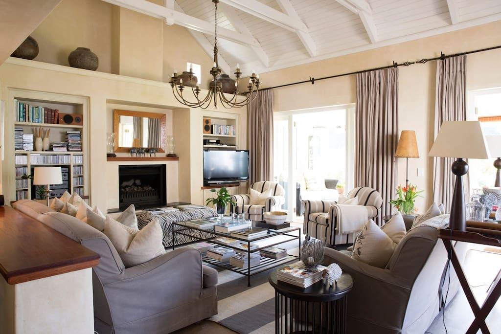 Stylish lounge with fireplace
