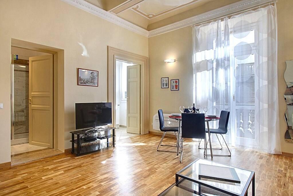 Il salotto con terrazzo