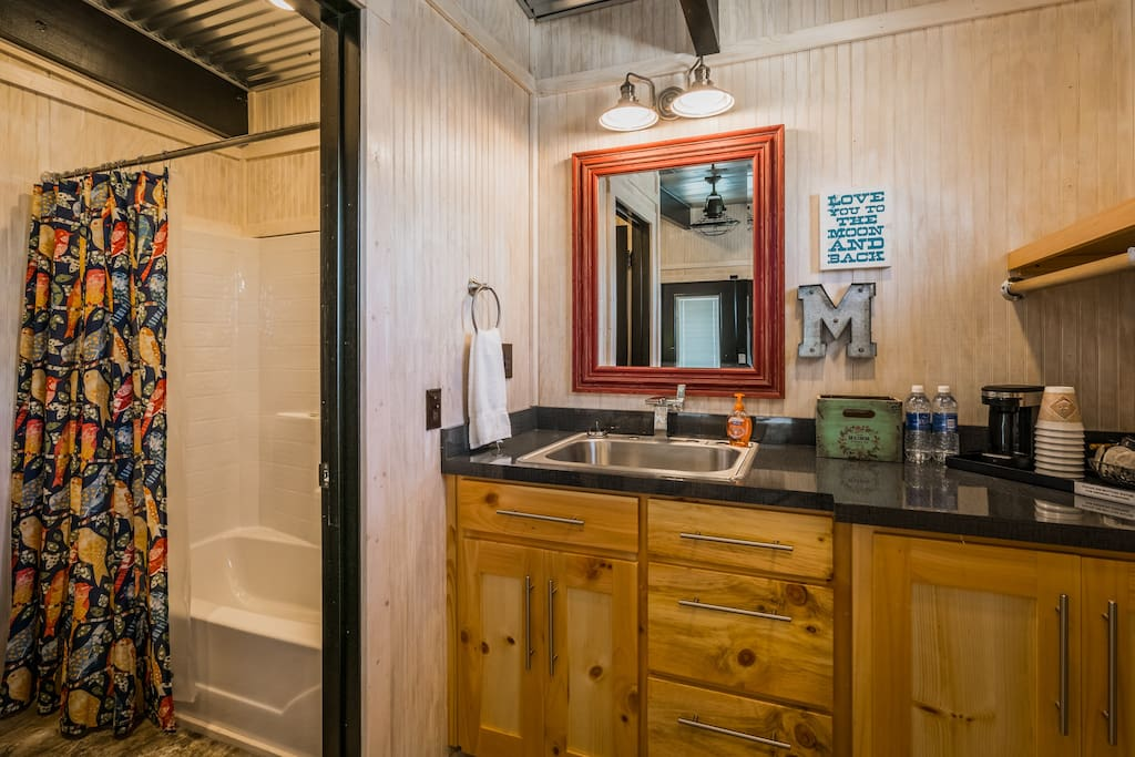 Full bathroom with separate sink and closet area.