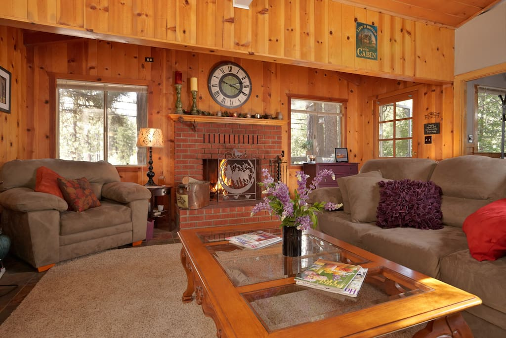 Living Room with Flat Screen TV & a Wood Burning Fireplace!!