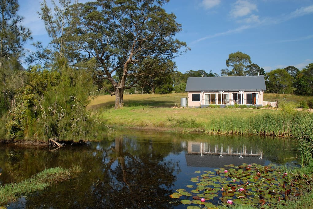 Private Billabong Cottage overlooks the lily pond.