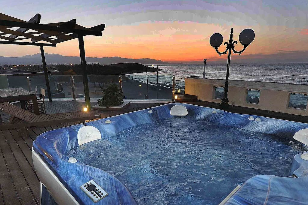 roofterrace with jacuzzi and view at Ancient Port of Korinthos view & beach