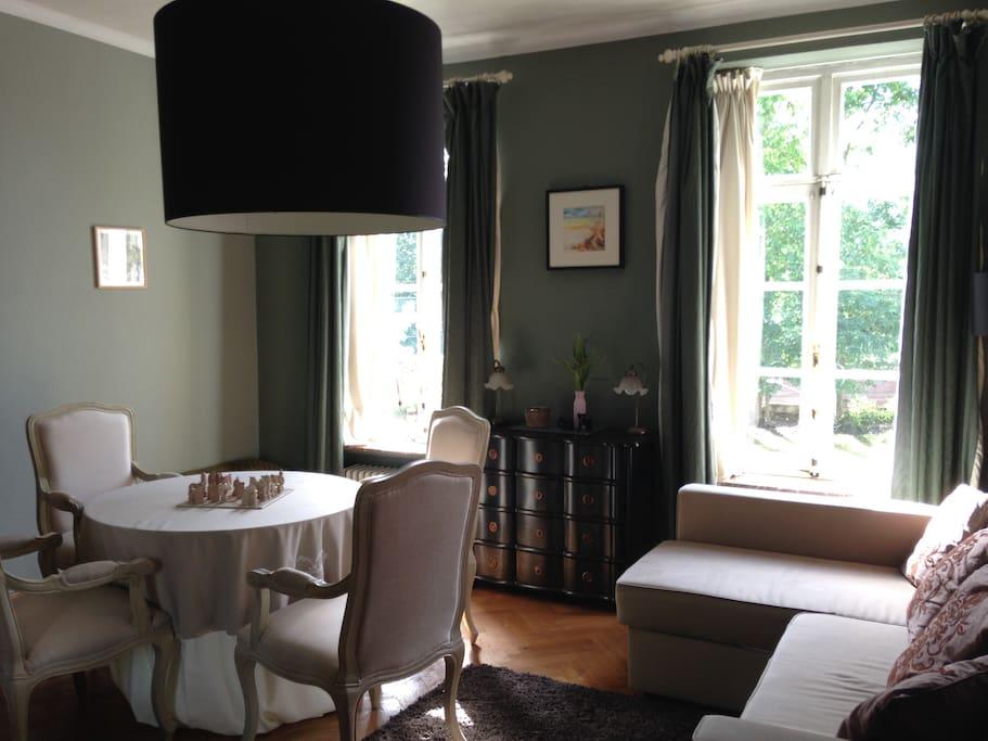 La teinte verte de la salle à manger apporte une ambiance rassurante et un sentiment de confort et de détente. Un espace idéal pour la concentration et l'équilibre. NB: Le divan est convertible en lit deux personnes.