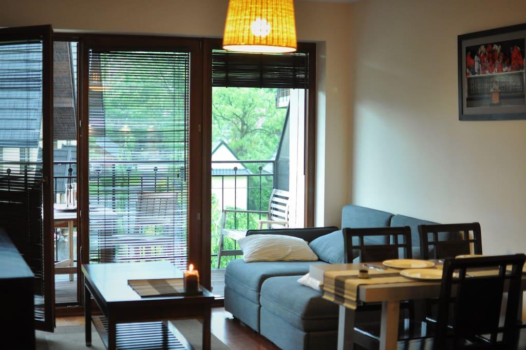 Salon z rozkładaną kanapą/Livingroom with convertible sofa