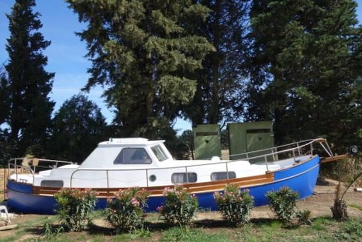 Bateau sur l'herbe avec cabine-lit près d'Avignon - Montfaucon - Bed & Breakfast