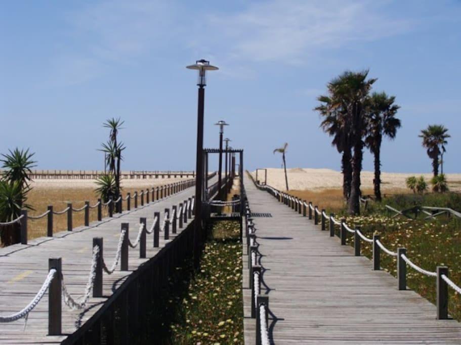 Les passerelles piétons et vélos sur l'immense sable de la plage