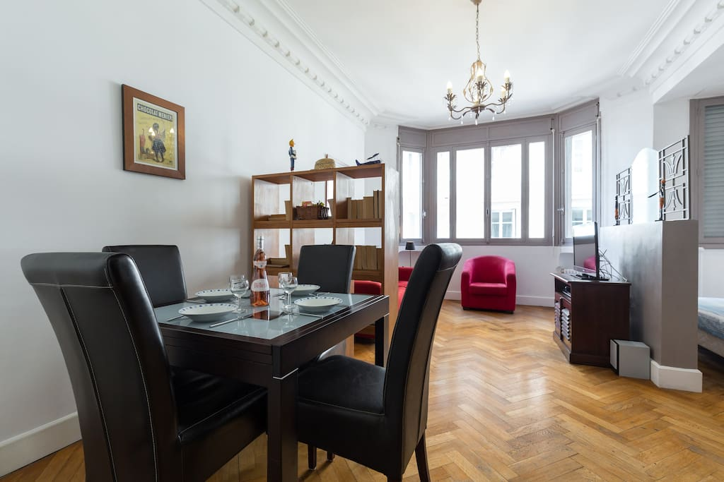 A large studio apartment for up to 4 people.  Grand studio, lits pour 4 personnes.
