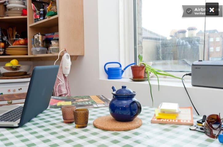 tea in the kitchen