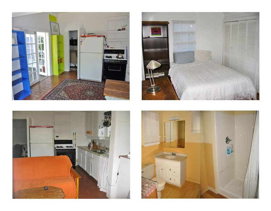 Kitchen, bedroom, living room, bathroom & shower