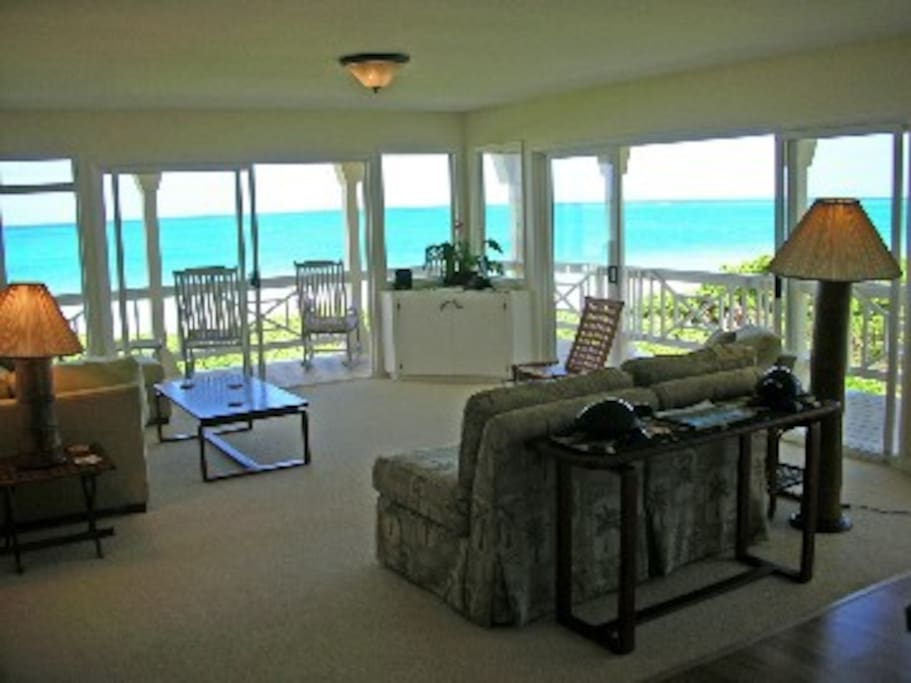 Living Room - With Ocean and Beach Views