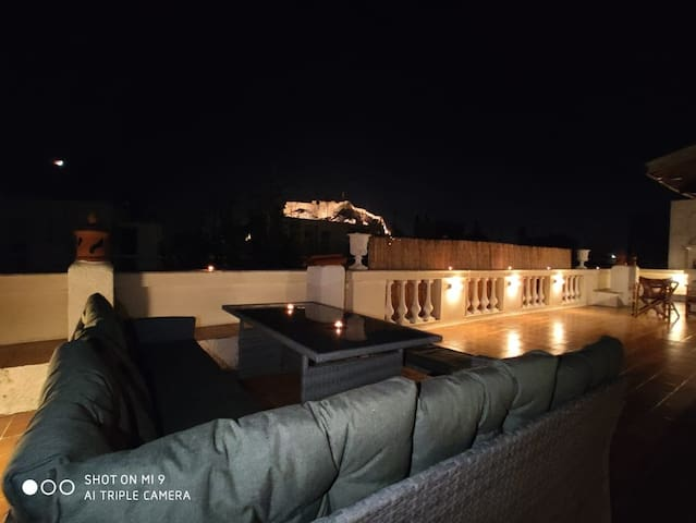 Acropolis view by night from the terrace!!! You can seat relax and drink your wine!!!