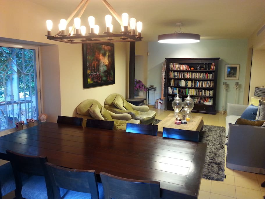 Dining area, living room and library