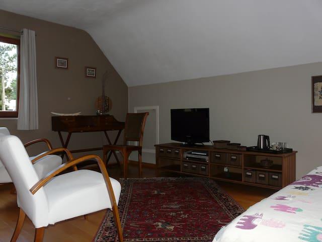 Chambre double avec salon et TV  - Villers-la-Ville - Maison