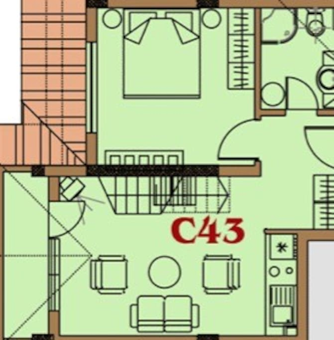 This is the ground floor layout of Pad43, please note that furniture orientation differs. The bedroom in this location is a twin, and not double as noted here. There is a shower room on this floor and a small kitchen. Kitchen is equipped with microwave, kettle, toaster, and two ring hob.