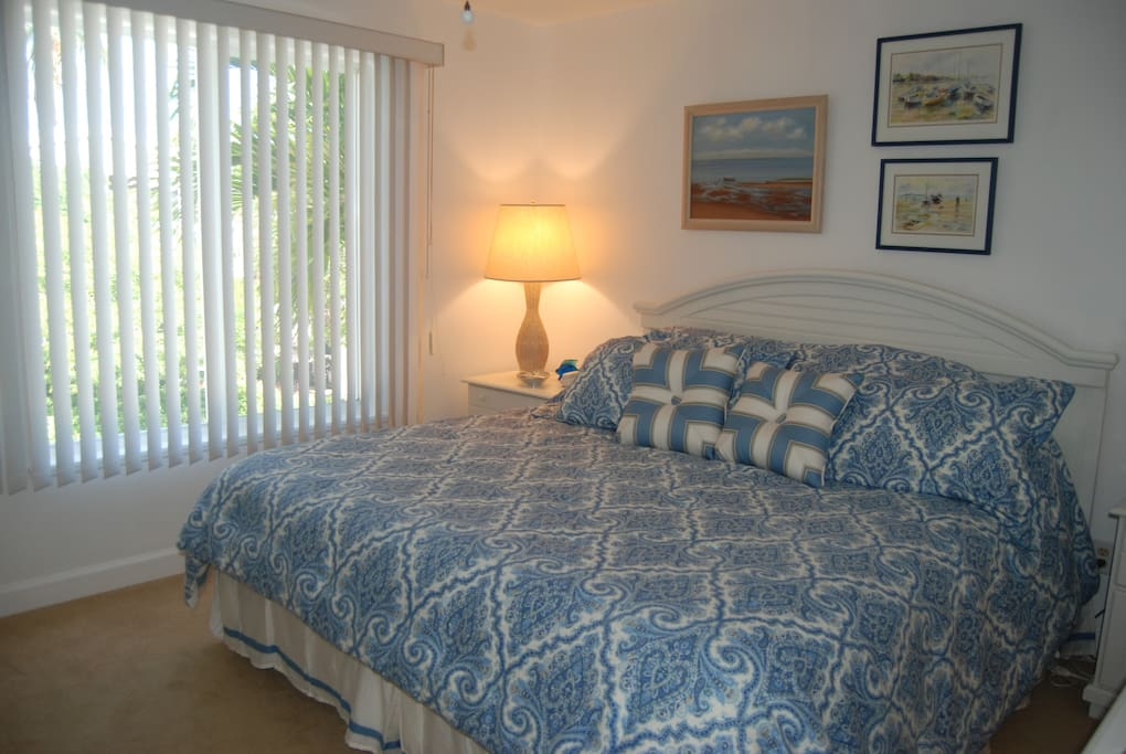 The master bedroom features a king bed with in-suite bathroom.
