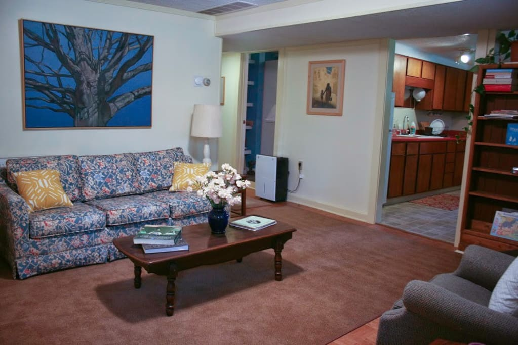 The cozy living room in the Blue Farm apartment. There is a couch and also a queen sized futon that can be pulled out for additional guests. The paintings are all by the artist, Mark Blaney, on-site artist.