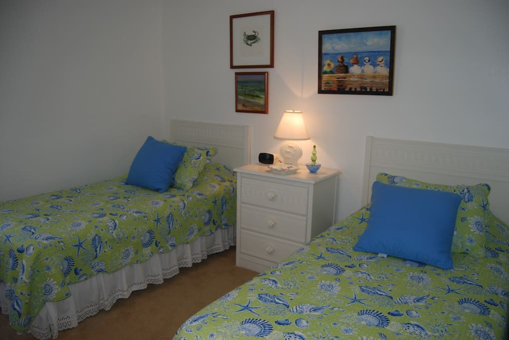 The guest room features two twin beds and a large closet. The guest bathroom is just across the hall.