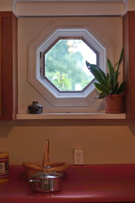 Lovely hexagonal window in the kitchen.