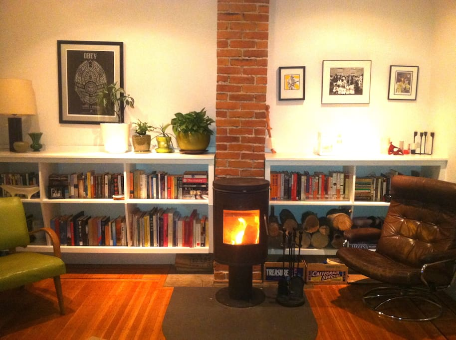 The living room in winter, with the Morso stove burning.