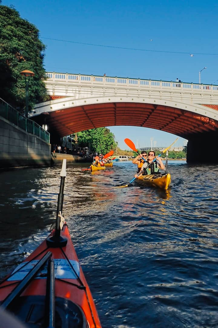 Paddling under Princes Bridge