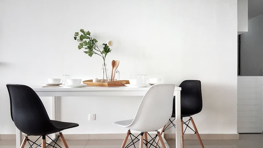 Dining area with designer chairs