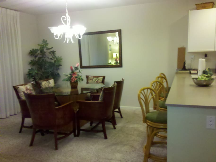 Large dining area seats your family and guests for get-togethers (no loud house parties, please!)