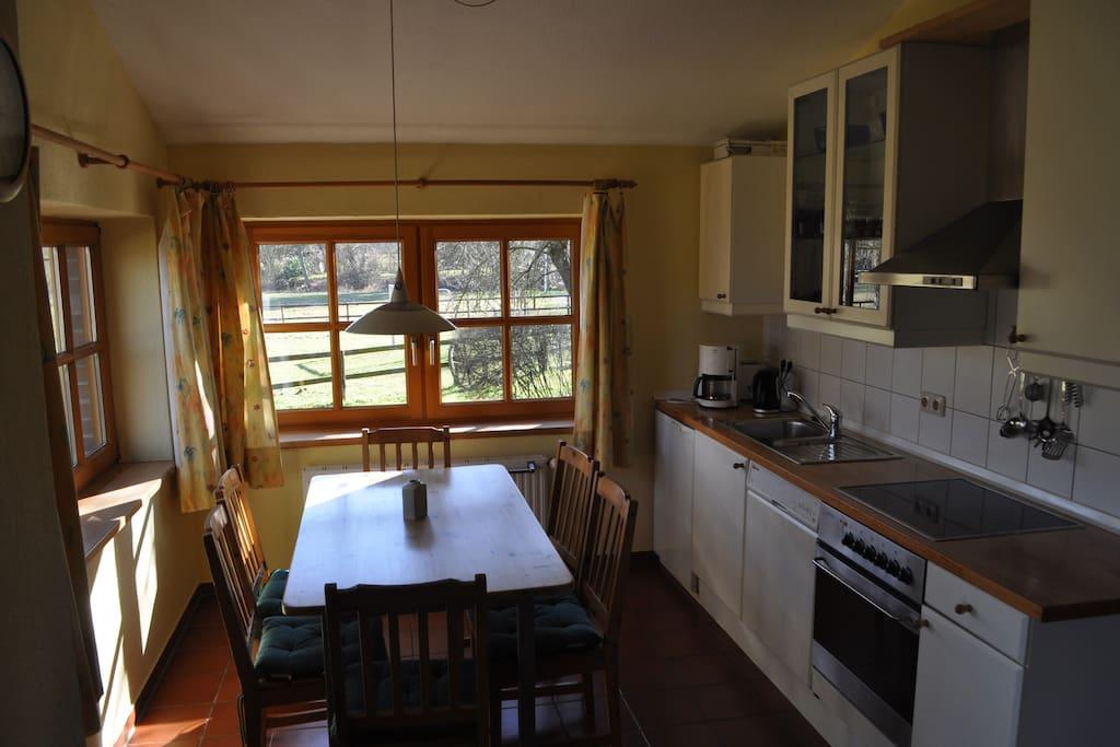 Wohnküche mit Backofen u. Geschirrspüler