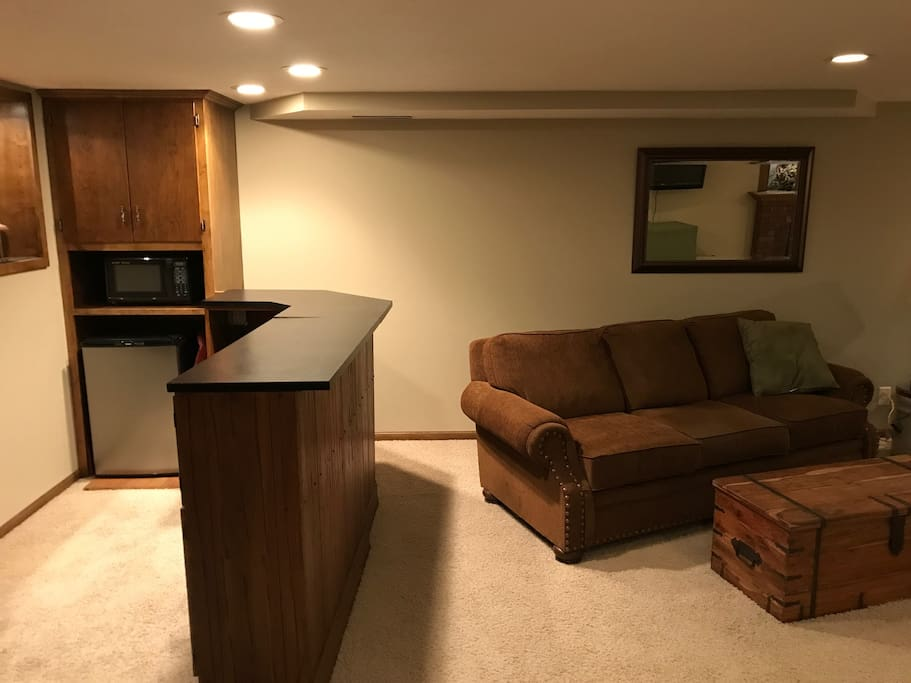 Downstairs living space with bar, TV.