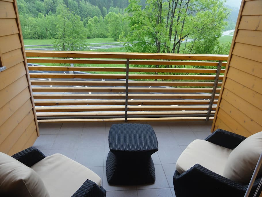 Balcony with view on mountains
