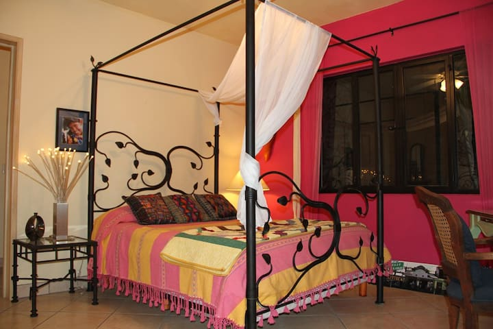 Second Bed Room queen bed with double sinks in bathroom, shower, closet