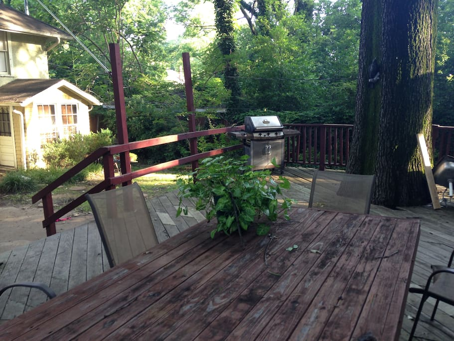 The back deck is the perfect place for an early morning cup of coffee or a late afternoon cocktail.