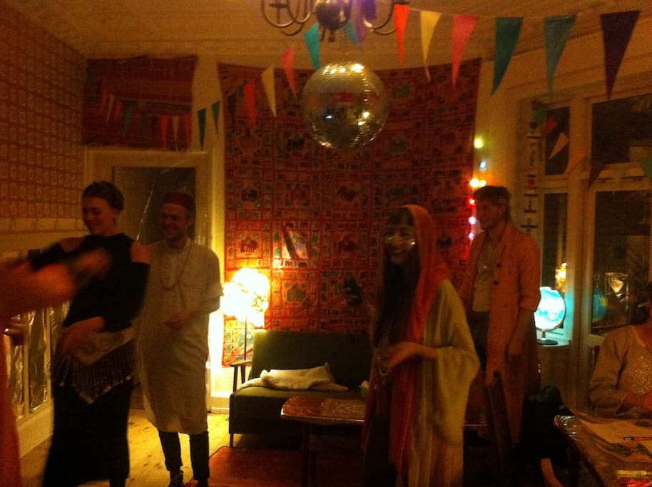 The living room with inhabitants, photo from our Sci-Fi Bollywood Party