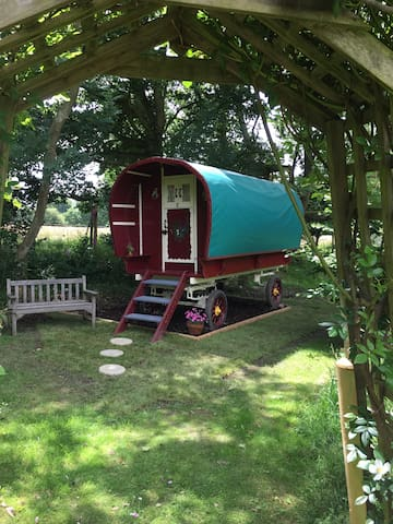 Beautifully painted gypsy caravan rural setting - Ringwood