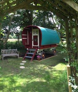 Beautifully painted gypsy caravan rural setting - Ringwood