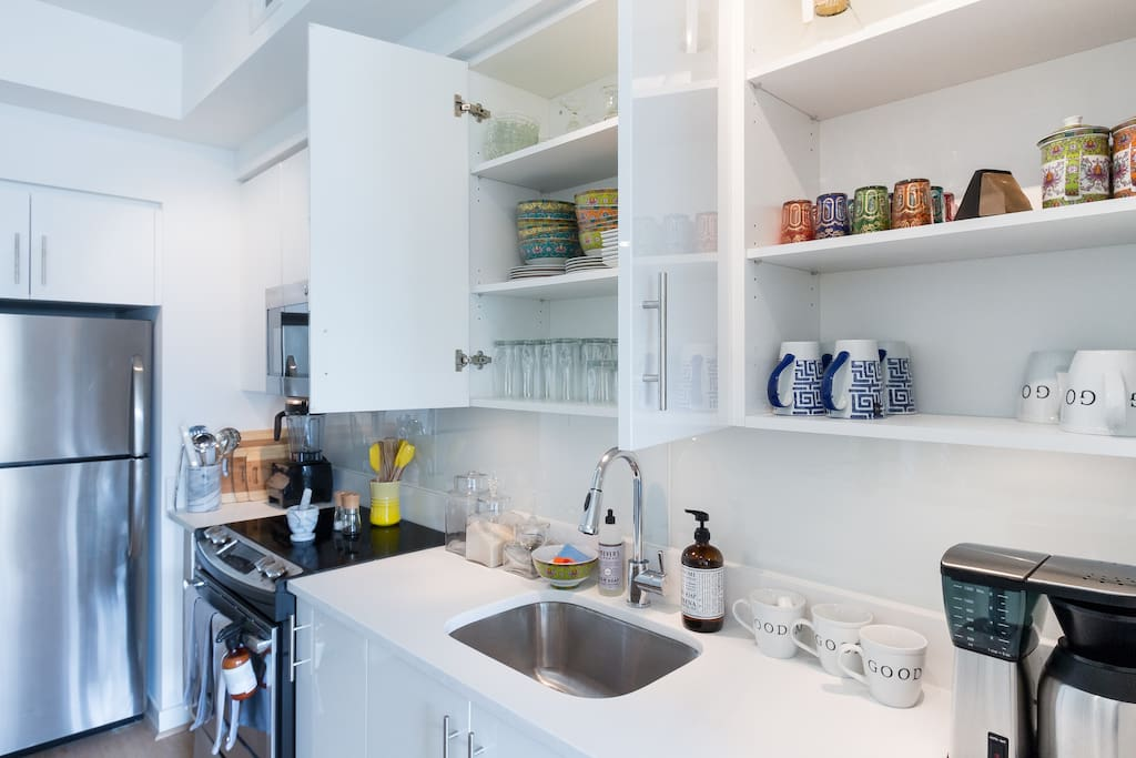 Kitchen is fully stocked with natural cleaning products, Le Creuset pots and pans and all the glasses and silverware you need.  There's even a Vitamix!