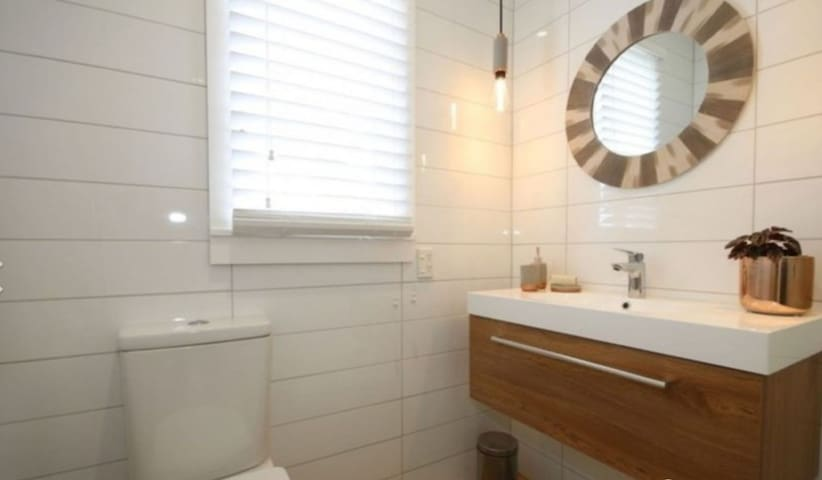 Compact bathroom with shower, basin and toilet, body wash and hand soap