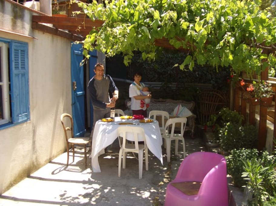 Alfresco dining under the grape vine